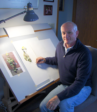 Artist and Firefighter Mike Fredericks at his drawing table